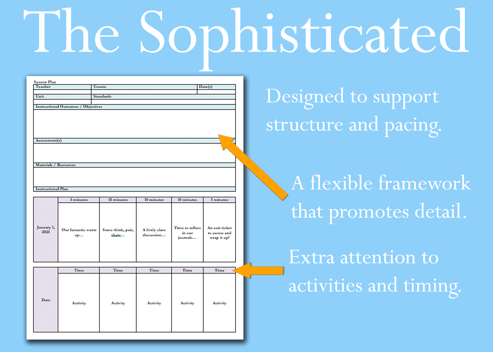 Sophisticated Lesson Plan Template