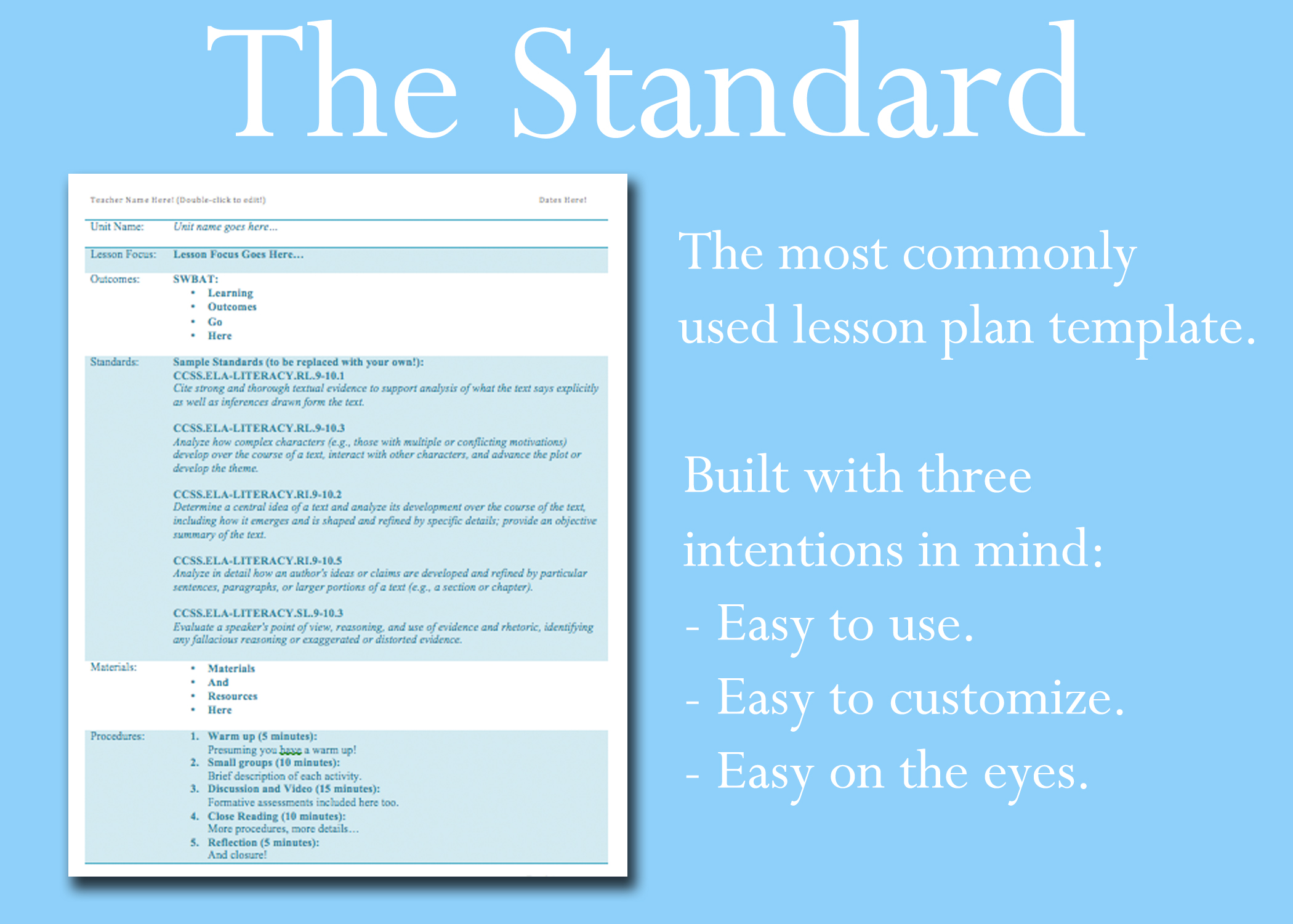 Standard Lesson Plan Template