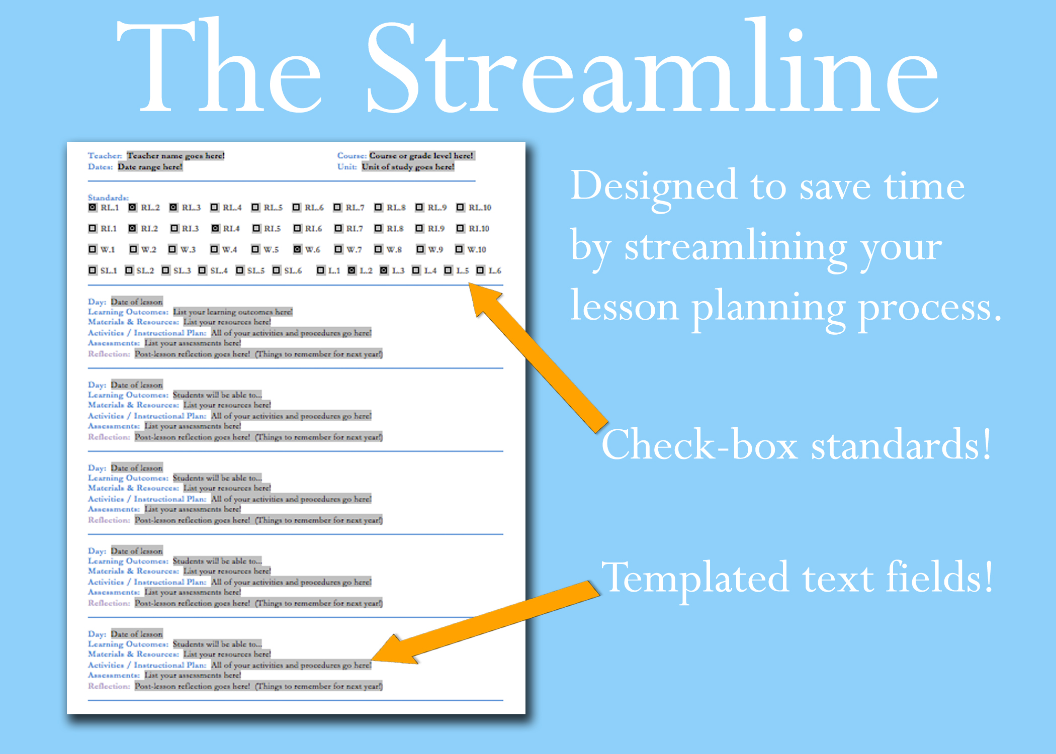 The Streamline Lesson Plan Template